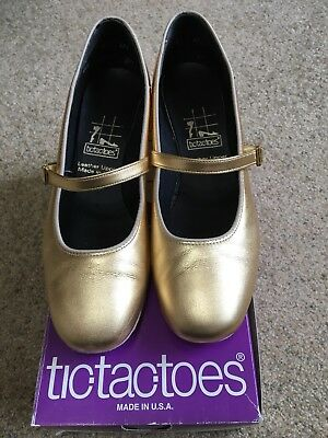 Tic Tac Toes Jan Square Dance Shoes ~ Gold Metallic~ Size 8.5 M. Worn Once!