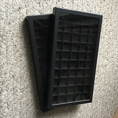"Box of (2) 8 x 14-1/2"" Display Cases (Riker type) with GRAY Dividers- 50 squares"