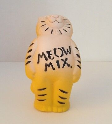 Vintage 1976 MEOW MIX CAT TOY, Ralston Purina Co. Promo, Rubber Cat Jingle Bell