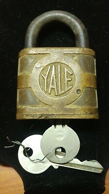 Antique/Vintage Yale Brass Padlock With Key- Works Great!