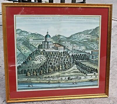 Lg Vintage very nicely framed Folio engraved map of Italy