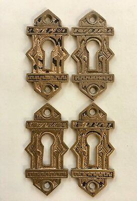 4 Antique Victorian Brass Escutcheon Key hole covers