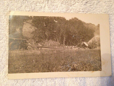 IHC International Harvester Mogul Prairie Tractor RPPC Threshing Postcard