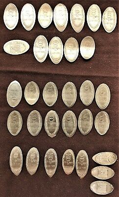 Puerto Rico Elongated coins On Different Host Coins ca 1980-90's (lot of 32 ea)