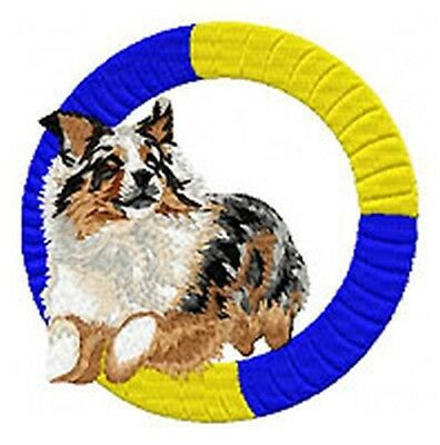 """Australian Shepherd, Aussie, Jumping Agility Dog, Embroidered Patch 3.7"""" Tall"""
