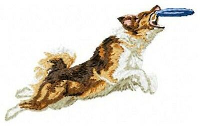 """Australian Shepherd, Aussie Dog Jumping for Frisbee, Embroidered Patch 2.4"""" Tall"""