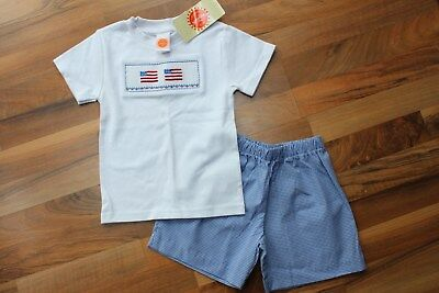 Smocked USA Flag Tee & Gingham Short Set, Toddler size 2T, NWT!