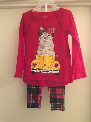 Faded Glory Girls Long Sleeve Kitty Cat Top and Legging Outfit Set SZ 5 NWT