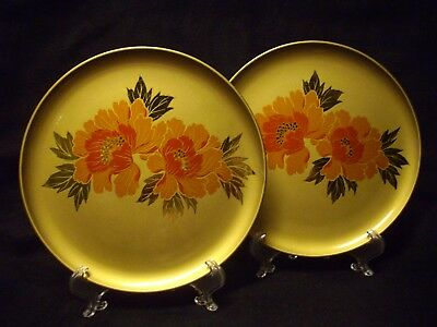 Vintage Japan Lacquer Plate/tray Pair Hand Painted Otagiri Golden Floral Set