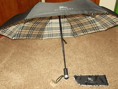 NWT Burberry Unisex Check Folding Umbrella 100% Authentic-LED Light in Handle