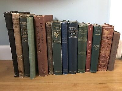 Antique Book Lot Of 14 Old Decorative Instant Library Display Prop 1870-1953