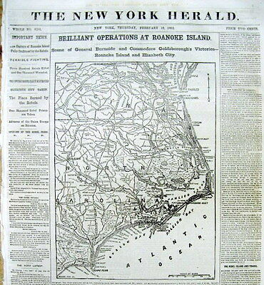 1862 Civil War newspaper with MAP Union CAPTURE of ROANOKE ISLAND North Carolina