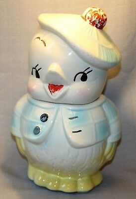 "Vintage Hand Painted Cookie Jar Chick Small Bird Very Nice 12"" Tall +"