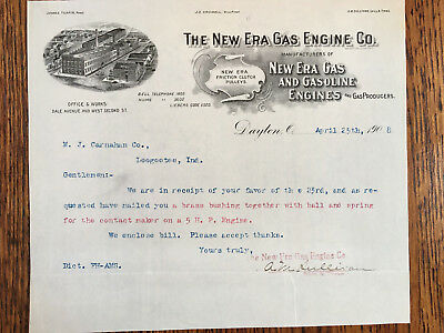 New Era Antique Hit Miss Gas Engine Letter Dated April 25 1908