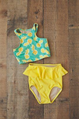 Kortni Jeane Two-Piece Racerback Top & High Waisted Bottoms Swimsuit 2/3 2T 3T