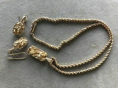 14K gold Nugget Pendant & matching earrings with 14k chain 19.4 grams