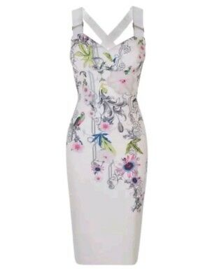 36f3808afac7 TED BAKER White Floral Print Scarlin Passion Flower midi dress Ted 4(US 10)