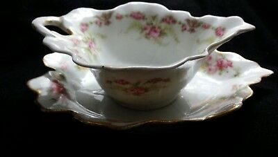 Antique French Limoges sauce bowl & plate Elite pattern floral pink,yellow roses