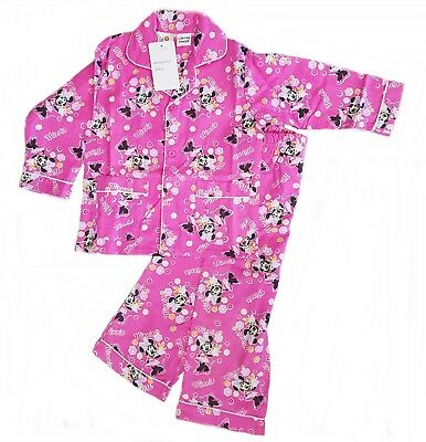 Girls Minnie Mouse Pjs Kids Winter Sleepwear Pajamas Easter Sizes 1 - 6