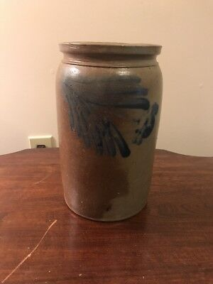 Antique Stoneware Crock w/ Blue Decoration