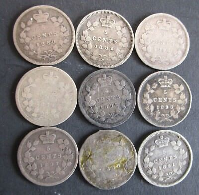 Pre 1900 Canadian Silver 5 Cent Coin Lot ++ A Must See