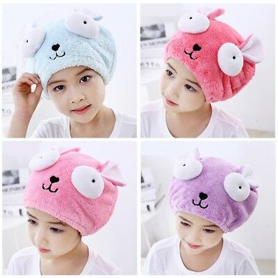 Microfiber Towel Quick Dry Hair Hat Kids Baby Cartoon Shower Caps Spa Bathing
