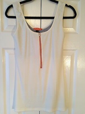 NWT Nursing Top Size L by Molly Ades Maternity White With Zipper; orange & grey