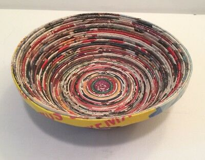 Handcrafted Rolled Paper Bowl_Recycled Magazines_Colorful Funky Table Decor_7""