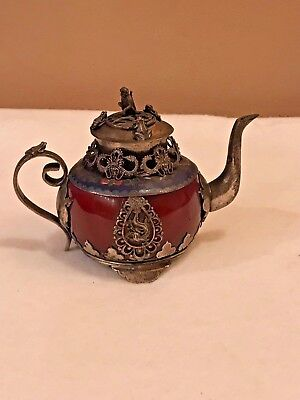 Signed Old Chinese Carnelian Agate Stone Cloisonne Metal Detailed Teapot