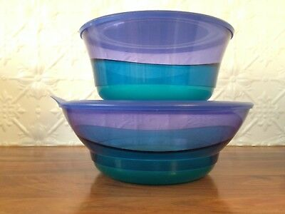 2 Tupperware bowl Blue illusion large and small bowls x 2 with lids Illusions