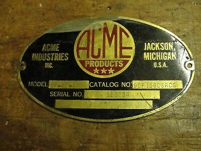 ACME industries machine builders plate data tag