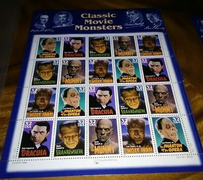 3168-75 32cent CLASSIC MOVIE MONSTERS  BEAUTIFUL SHEET OF 20