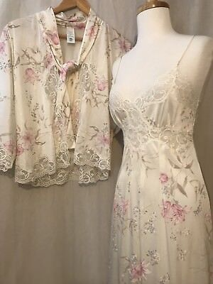 VTG JC PENNY PEIGNOIR SET Lace Flowers Sheer Silky Sexy & Sweet Union Made SM