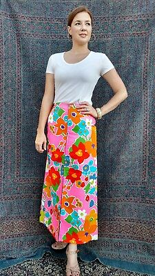 Vintage Maxi Skirt ~ 1970's Flower Power Print, Zip Up Front, VIVID POP ART~ S/M