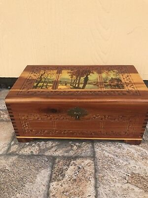 Vintage Carved Wooden Cedar Jewelry Box With Scene