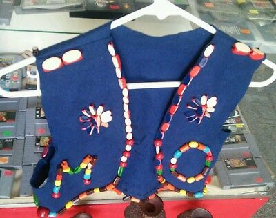 Vintage Hand Made Fire Fly Girl Vest/Folk Art