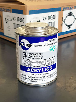 WELD ON 3 Water-Thin Clear Acrylic Cement 473ml tin OUT OF DATE STOCK