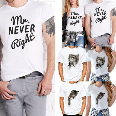 86d4478b2951 2018 Tops Funny Cute Cat Letter Couple Design Tees Matching Love T-Shirts  Unisex