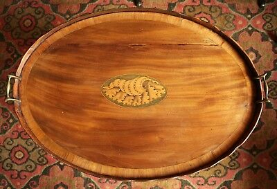 18th c. English Hepplewhite Period Inlaid Oval Tray (c.1790) with a Later Stand.