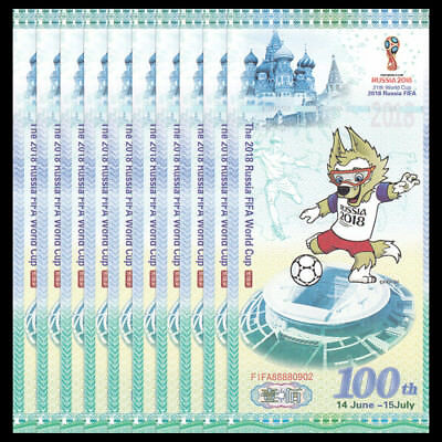 Lot 10 PCS, The 2018 Russia FIFA World Cup, 100 Test Note, COMM. UNC