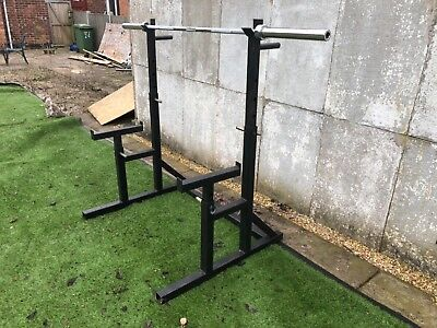 Squat Rack, Olympic Barbell, Olympic Plates, Olympic Dumbbells & clips.