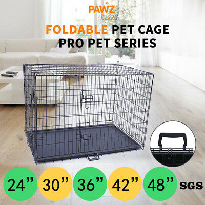 "24"" 30"" 36"" 42"" 48"" Dog Crate Kennel Large Dog Metal Bed Pet Cat House Cage"