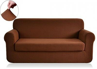 2pc Stretch Fabric Form Fit Solid BROWN Couch/Sofa/Loveseat Cover Set 72-92 inch