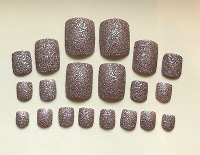 Hand Painted False TOE NAILS. Press/Stick on. Set of 20. Champagne Gold Glitter