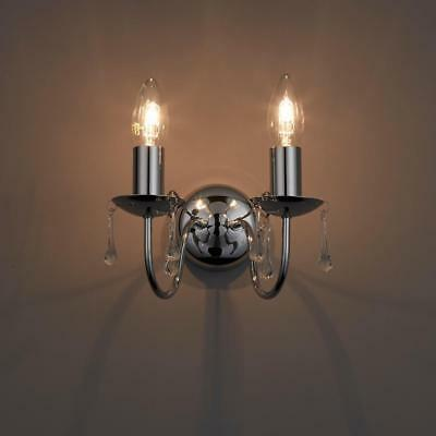 ALBANY CANDLE CHROME Effect Candle Double Wall Light 2 Lamps ...
