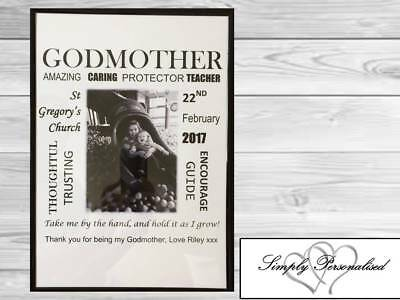 Personalised Godparents Gifts Godmother Godfather Thank You Keepsake