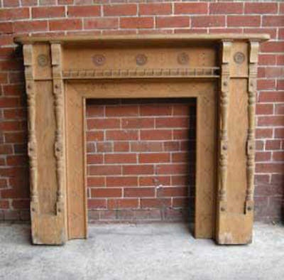 Large Antique Pine Aesthetic Movement Fire Surround No Reserve