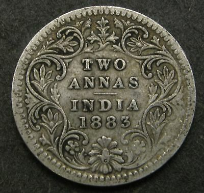 INDIA BRITISH 2 Annas 1883 - Silver - Victoria - 3179