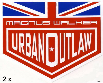 2x Magnus Walker Urban Outlaw Sticker British Flag, 2x Aufkleber