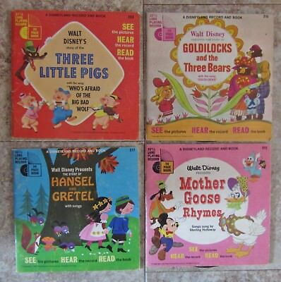 Lot of 4  Disney See. Hear. Read Along Books and Records 33 1/3 RPM Fairy Tales